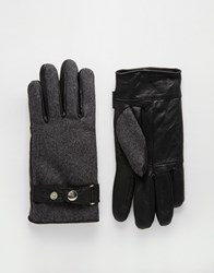 Peter Werth Leather And Wool Gloves Grey