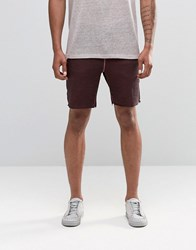 Asos Slim Jersey Shorts In Burgundy With Oil Wash Burgundy Red
