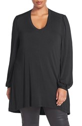 Melissa Mccarthy Seven7 Plus Size Women's Long Sleeve V Neck Tee Black
