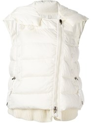 Moncler Padded Layer Effect Hooded Gilet White