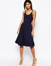 Asos Bonded Mesh Midi Dress With Cross Back Navy