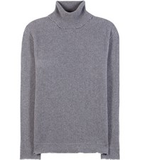 Valentino Ribbed Wool And Cashmere Turtleneck Sweater Grey
