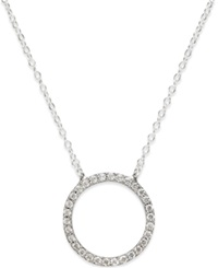 Studio Silver Cubic Zirconia Circle Pendant Necklace In Sterling Silver