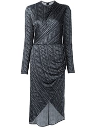 Christian Siriano Cable Knit Print Wrap Dress Black