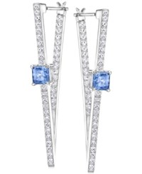 Swarovski Silver Tone Blue Crystal And Pave Geometric Drop Earrings