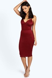 Boohoo Fiona Plunge Neck Bodycon Dress Wine