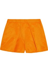 Msgm Cotton Blend Faille Shorts Orange