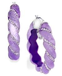 Sis By Simone I Smith Platinum Over Sterling Silver Earrings Crystal And Purple Lucite Hoop Earrings