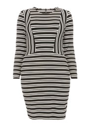 Evans Striped Hourglass Fit Bodycon Dress Black