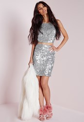 Missguided Sequin Mini Skirt Silver Grey