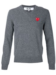 Comme Des Gara Ons Play Heart Application V Neck Sweatshirt Grey
