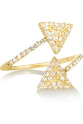 Khai Khai Twin Pyramid 18 Karat Gold Diamond Ring Metallic