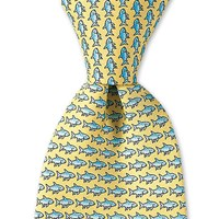Vineyard Vines Yellow Bonefish Printed Tie