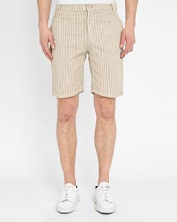 M.Studio Beige Raphael Fitted Cotton Striped Shorts