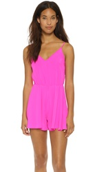 Amanda Uprichard Circle Short Silk Romper Hot Pink Light