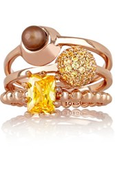 Eddie Borgo Collage Set Of Three Rose Gold Plated Crystal And Pearl Rings