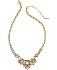 Kate Spade New York Gold Tone Pink Stone Frontal Necklace