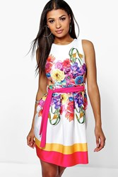 Boohoo Floral Print Belted Skater Dress Pink