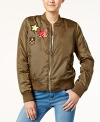 Say What Juniors' Patched Bomber Jacket Olive