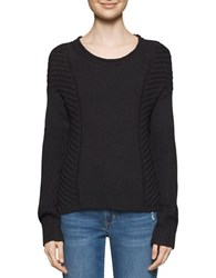 Calvin Klein Jeans Long Sleeve Cropped Knit Sweater Black