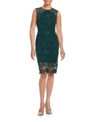 Vera Wang Lace Sheath Dress Green