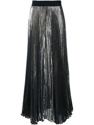Alice Olivia Pleated Long Skirt Metallic