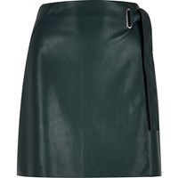 River Island Womens Dark Green Leather Look Wrap Skirt