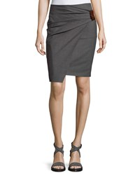 Brunello Cucinelli Leather Tab Gathered Pencil Skirt Gray Brown