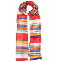Dents Ladies Bright Striped Print Scarf Berry