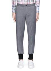 Paul Smith Contrast Cuff Cropped Wool Jogging Pants Grey