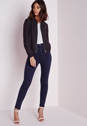 Missguided Jessica Super High Waisted Skinny Jeans Navy Blue