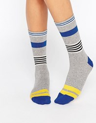 Jonathan Aston Striped Sock Grey