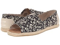 Toms Alpargata Open Toe Black Textile Floral Women's Flat Shoes