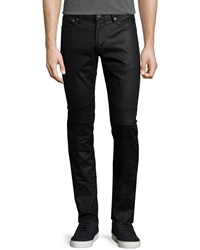 John Varvatos Midnight Coated Moto Jeans Navy