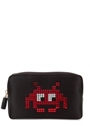 Anya Hindmarch Space Invaders Satin Cosmetics Case Black And Red