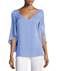 Milly Butterfly Sleeve V Neck Blouse Steel Blue