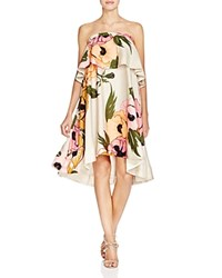 Tracy Reese Strapless Floral Flounce Dress Hot Pink Poppy