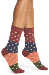 Free People 'Spotlight' Dot And Stripe Crew Socks Red Combo
