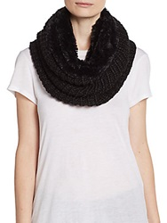 Modena Faux Fur Lined Knit Infinity Scarf Black