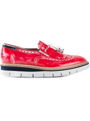 Barracuda Rubber Sole Tassel Loafers Red