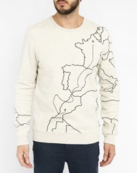 Scotch And Soda Grey Embroidered Map Sweatshirt