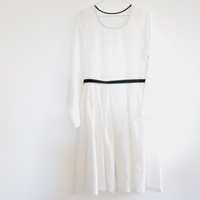 White Pleated Dress Basic Chic