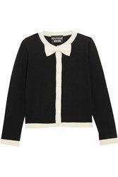 Boutique Moschino Bow Embellished Wool And Cotton Blend Cardigan Black
