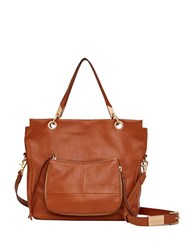 Foley Corinna Amber Leather Tote Dark Brown