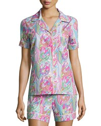 Bedhead Sergeant Pepper Shorty Pajama Set Pink Turquoise