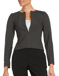 Calvin Klein Petite Faux Leather Trimmed Zip Up Jacket Charcoal