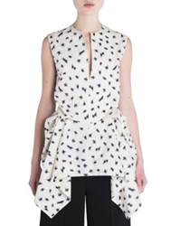 Marni Printed Cotton Ruched Tunic Top Ivory Navy