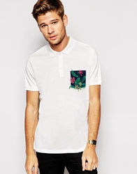 Asos Polo Shirt In Nepp Fabric With Floral Print Over Pocket Offwhite