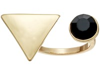 Guess Triangle And Stone Open Top Ring Gold Jet Ring Black