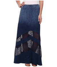 Dkny Knit Denim Maxi Skirt With Mesh Indigo Women's Skirt Blue